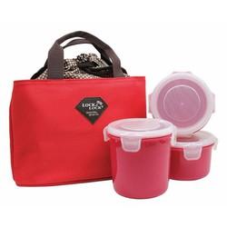 Bộ 3 hộp cơm kèm túi giữ nhiệt Lock Lock