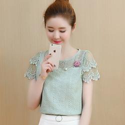 Áo kiểu nữ phong cách Hàn Quốc - Tặng kèm hoa cài áo