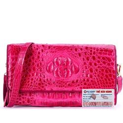 Túi xách nữ da cá sấu đeo chéo màu hồng