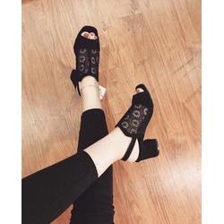 Giày sandal cao gót đế vuông nữ lưới hoa