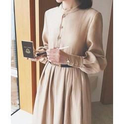Đầm xoè cổ trụ tay dài đơn giản dễ thương