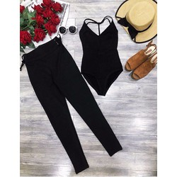 Set áo bodysuit + quần leging đan dây