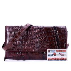 Túi xách nữ da cá sấu đeo chéo 2 gai màu nâu đất