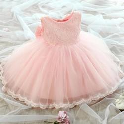 Đầm voan công chúa màu hồng đính nơ xinh xắn