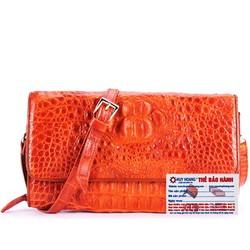 Túi xách nữ da cá sấu đeo chéo màu vàng