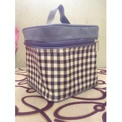 Túi giữ nhiệt hình hộp vuông 15cm vải bố ca rô khung cứng. TX47