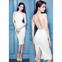 Đầm body trắng 2 dây hở lưng NT