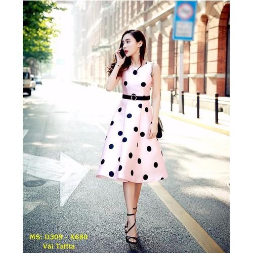 Đầm Xòe Vintage Chấm Bi Cao Cấp