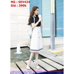 Sét áo kiểu tay con và chân váy xòe phối viền thời trang SEV424