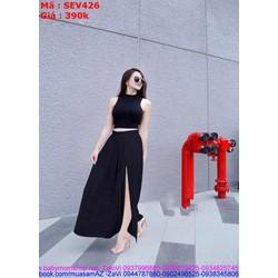 Sét áo kiểu sát nách cổ yếm phối chân váy xòe xẻ tà SEV426