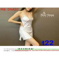 Sét bộ ngủ nữ áo 2 dây viền ren trắng xinh đẹp DNA32