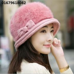 nón mũ nữ len lông Rabbit mùa đông Hàn quốc hoa Casual mới nhất HNNL90