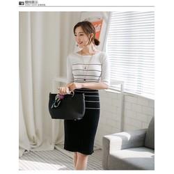 Hàng Nhâp - Đầm len body phối màu trắng đen AL159