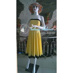 Đầm vàng Viền Cúp Ngực và chân váy Đen