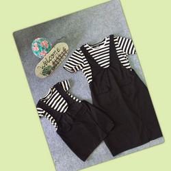 set áo thun sọc kèm yếm đen y hình chụp