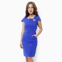 Đầm ôm Lady gắn hoa thêu màu xanh coban size XL