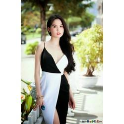 Đầm body phối màu trắng đen NT
