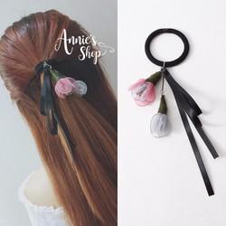 Cột tóc Handmade hoa rơi màu pastel ngọt ngào