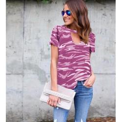 Tên sản phẩm: áo thun nữ rằn ri Mã: AX3177 - HỒNG