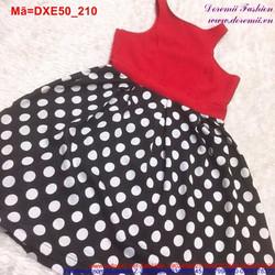 Đầm xòe sát nách đỏ phối váy chấm bi xì tin DXE50