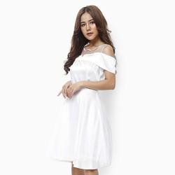 Đầm xòe công chúa rớt vai màu trắng size L