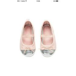 Giày búp bê bé gái hồng nhũ bạc