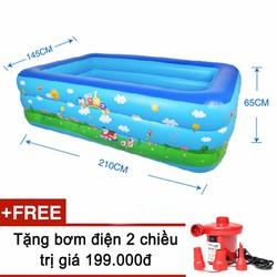 Bể bơi phao 3 tầng cho bé size to 210x145x65cm - Mẫu 2017 tặng kèm bơm