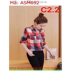 Áo sơ mi nữ dài tay caro màu nổi bật ASM692