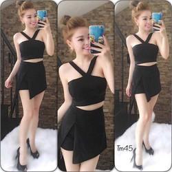 Set áo croptop + short váy
