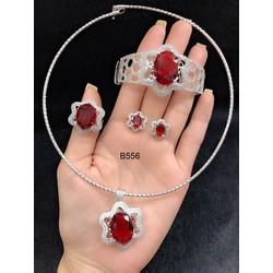 Bộ trang sức xi trắng cao cấp đính đá đỏ Orin V13