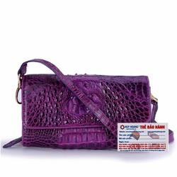 Túi đeo nữ da cá sấu Huy Hoàng màu tím