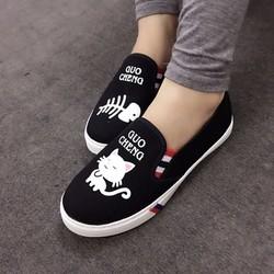 Giày slip on hình mèo cá
