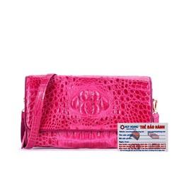 Túi đeo nữ da cá sấu Huy Hoàng màu hồng