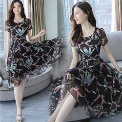 Đầm maxi voan hoa tiết