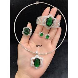 Bộ trang sức xi trắng cao cấp đính đá xanh lá cây Orin V12
