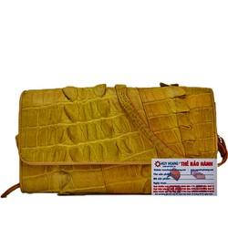 Túi xách nữ da cá sấu Huy Hoàng đeo chéo 2 gai màu vàng nghệ