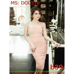 Đầm ôm dự tiệc 2 dây màu hồng dễ thương DOC518