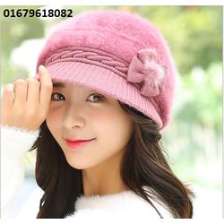 nón mũ nữ len lông Maple Leaf Hàn quốc mới nhất HNNL105