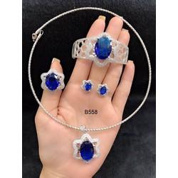 Bộ trang sức xi trắng cao cấp đính đá xanh ngọc Orin V11