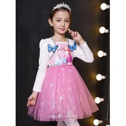 Đầm voan liền áo khoác tay dài công chúa Elsa cánh bướm