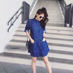 Đầm suông jean 2 túi hàng thiết kế- MS: S140822 Gs 150K