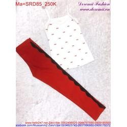 sét áo thun hai dây hình nơ phối với quần dài đáng iu SRD85