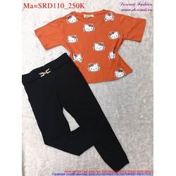 Sét áo tay ngắn hình mèo phối với quần dài dễ thương SRD110