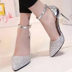 Giày Sandal Cao Gót Phối Kim Tuyến Sang Trọng