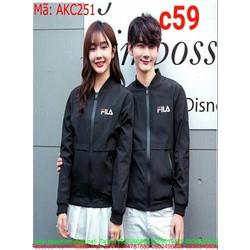 Áo khoác cặp đôi cổ phối thun logo fila phong cách AKC251