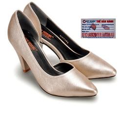 Giày nữ Huy Hoàng cao cấp xẻ hông màu kem