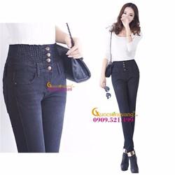 Quần jean lưng cao lưng thun nhiều nút GLQ001-Black màu đen