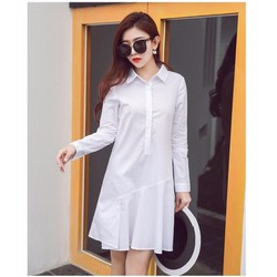 Hàng nhập - Đầm suông kiểu sơ mi tay dài màu trắng