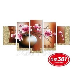 Tranh thêu chữ thập 5D Bộ 5 Bức Bình Hoa