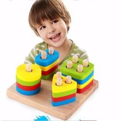 Phát triển tư duy hình học phương pháp Montessori xếp hình 10 cột gỗ